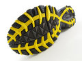 Running Shoe with yellow and black tread pattern Royalty Free Stock Photo