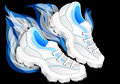 Running shoes on black background eps Stock Photos