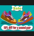 Running shoes sale poster flyer template or banner design Stock Photography