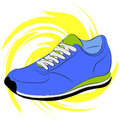 Running shoes vector illustration blue on a yellow abstract background Royalty Free Stock Images