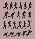 Running silhouettes authors illustration in vector Stock Photo