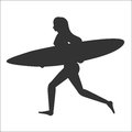 Running surfer woman with surfboard