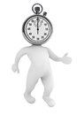 Running time concept d person as stopwatch on a white background Royalty Free Stock Photo