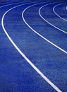 Running Track Blue Stock Photo