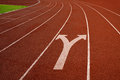 Running track with fork sign concept business decision way for the Royalty Free Stock Photos