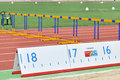 Running track with hurdles and a ruler photo was taken during the junior team of ukrainian championship in athletics between Royalty Free Stock Photography