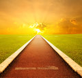 Running track with one lane with sunset for succes Stock Photo