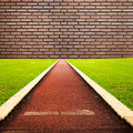 Running track with one lanes to brick Stock Images