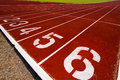 Running track for popular sport athlete or start point Royalty Free Stock Photo