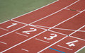 Running track start line Royalty Free Stock Image