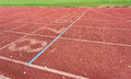 Running tracks in athletic stadium. Royalty Free Stock Photo