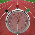 Running tracks with stop watch Royalty Free Stock Photo