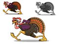 Running turkey bird in cartoon style for sport team mascot or another design Stock Photo