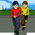 Running twins comic book style illustration of two Royalty Free Stock Photos