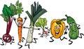 Running Vegetables Cartoon Ill...