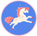 Running white horse with pink mane and tail on a blue background with stars Royalty Free Stock Photography