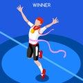 Running winning man summer games isometric d vector athletics icon set win concept win runner athlete sport of athletics sporting Royalty Free Stock Photo