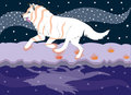 Running wolf the dreamer illustration vector Stock Photo
