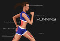 Running woman annotation anatomical muscle training Royalty Free Stock Photography