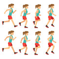 Running woman, female runner animation frame loop sequence