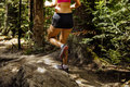 Running woman marathon runner in woods Royalty Free Stock Photo