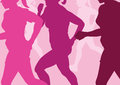 Running women abstract illustration of a group of in a cross country run Royalty Free Stock Image