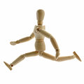 Running wooden manikin Royalty Free Stock Photo