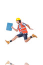 Running young builder with toolbox isolated on stock photography concept for usage Royalty Free Stock Images