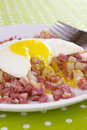 Runny Egg on Corned Beef Hash Royalty Free Stock Image