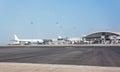 Runway chek lap kok international airport in hong kong the and hangars at Royalty Free Stock Images