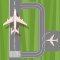 Runway with jet aircraft top view. Takeoff and landing airplanes set. Royalty Free Stock Photo