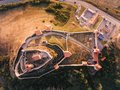 Rupea Fortress in Transylvania aerial panoramic view from above