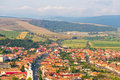 Rupea hills and sky seen from above romania Royalty Free Stock Photo