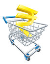 Rupee money trolley concept currency of sign in a supermarket shopping cart or Stock Photo