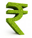 Rupee sign leaf formation d render isolated on white and clipping path Stock Photos