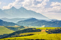 Rural area at the foot of tatra mountains landscape with fields and forest in slovakia Royalty Free Stock Photography