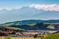 Rural area at the foot of tatra mountains landscape with fields and forest in slovakia Royalty Free Stock Photo