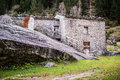 Rural building in a mountain village Valtellina Italy Royalty Free Stock Photo