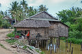 Rural cambodia house near a river in siem reap Royalty Free Stock Image