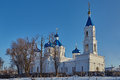 Rural church on a decline winter stavropol territory img Stock Images