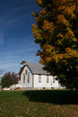 Rural church and fall color Stock Photography
