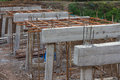 Rural construction of concrete bridges Royalty Free Stock Photo