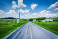 Rural country road near Seven Valleys, in York County, Pennsylvania. Royalty Free Stock Photo