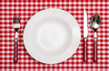 Rural cover with plate fork knife an spoon on a table red checkered cloth Royalty Free Stock Photo