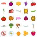 Rural economy icons set, cartoon style Royalty Free Stock Photo