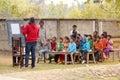 Rural education program, outdoors teaching Royalty Free Stock Photo