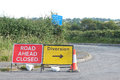 Rural english highway diversion signs a set of road on a lane in somerset england Royalty Free Stock Photos