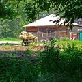 Rural farmstead in the museum complex in Yasnaya Polyana. Royalty Free Stock Photo