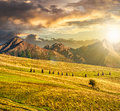 Rural fields near the high mountains at sunset composite landscape image lonely tree haystacks on foot of tatra in evening light Stock Photography