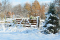 Rural frosty snow covered gate Royalty Free Stock Photo
